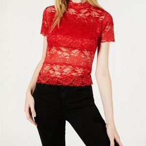 Woman's red Shayna lace mock-turtleneck